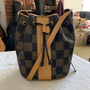 FENDI Bucket Drawstring Checkered Canvas Crossbody